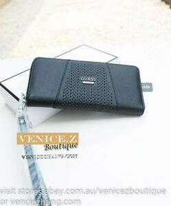 BNWT RRP$95 GUESS GIA Wallet Clutch Purse Zip-around Wristlet Black