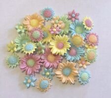 30 FLOWERS PASTEL EDIBLE SUGARPASTE ICING BIRTHDAY MOTHERS DAY CAKE TOPPERS