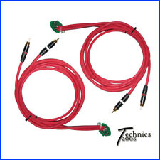 PAIR RED TECHNICS 1200 1210 6FT RCA RCAS - NEUTRIK GOLD - INTERNAL GROUND PCB