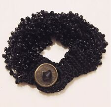 Fashion Jewelry - Jet Black Bead Knitted Lace Antique Coin Button Bracelet