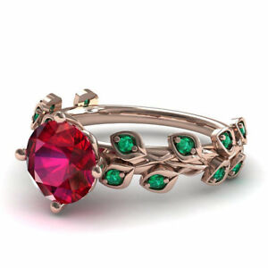 0.5ct Round Pink Ruby Emerald Rose Flower Engagement Ring 14k Rose Gold Finish