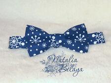 Cotton Mens Bow tie Blue Polka dot with Snowflackes Pre tied Handmade Bow tie