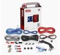 Boss System 8 Gauge Wire Amplifier Installation Kit Audio Stereo Car Speaker Set