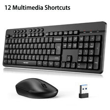 More details for tecknet 2.4ghz usb wireless keyboard and mouse combo set full size for pc laptop