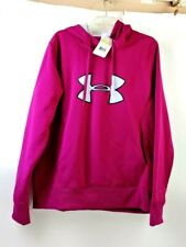 Under Armour Women Semi Fitted Fuchsia Hooded Jacket XL Cold Gear Water Resistan