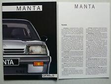 Prospekt Opel Manta GT und GSI, 10.1985, 12 Seiten + 4 Seiten Technik