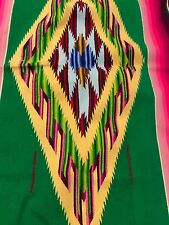 A PRISTINE ANTIQUE MEXICAN SALTILLO SERAPE BLANKET RUG SHAWL - MINT CONDITION !