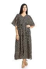 Sexy Women Kimono Sleeve Cotton Loose Long Dress Tunic Bath Robe Kaftan Caftan
