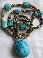 VINTAGE EGYPTIAN REVIVAL  SCARAB NECKLACE WITH HIEROGLYPHS