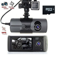 HD 2.7'' Dual Lens G-sensor GPS Car Camera Dash Video Cam With 32GB TF Card
