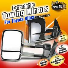 Chrome Extendable Towing Mirrors w/ Indicators for Toyota Hilux 2012-2015