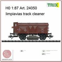 H0 gauge 1:87 ho tracks rails railtracks wagon car track-cleaner Trix 24050
