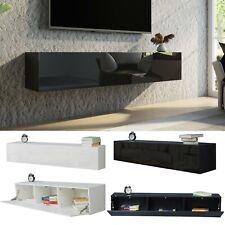 TV Lowboard Wand Fernsehstand Schrank 160cm Möbel Speicherung Hochglanz & Holz