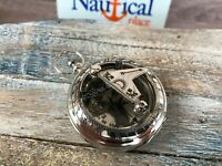 Chrome / Silver Finish Brass Sundial Compass - Necklace Pendant - Antique Style