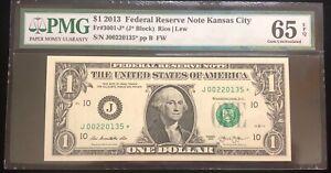 2013 $1 FRN Kansas City Star Note PMG 65 Gem UNC EPQ Fr. 3001-J* 250K (#lb2)
