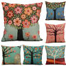 Colorful Tree Of Life Pillow Case Cotton Linen Cushion Cover Sofa Bed Home Decor