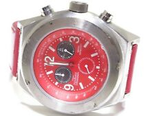 Aqua Marin Stainless Steel Chronograph Red Dial Red Band Watch