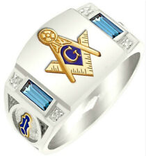 Men's Fashion Masonic Letter Signet Ring Silver Blue Gold Men R22