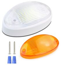 RV LED Porch Light Oval clear amber lens camper RV trailer white exterior --