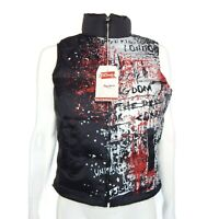 NEW PEPE JEANS Down Puffer Vest 90's Hip-Hop Graffiti Rap Jacket Small $149.99