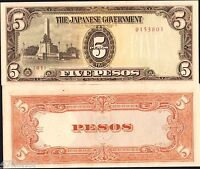 Philippines/Japan Occupation 1943 WWII ,  5 Pesos , Military Note UNC