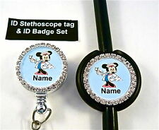 ID STETHOSCOPE TAG & ID BADGE SET BLING,MINNIE,RN,NURSE,ER,MA,MEDICAL,VET TECH