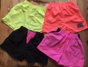 *4 Pairs Vintage 90's Swim Surf Shorts Nylon Neon Pink, Orange Yellow Men's Med