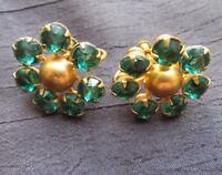 "Small Vintage Emerald Green Tone Rhinestones on Gold Tone Screw Back Earrings 1"""