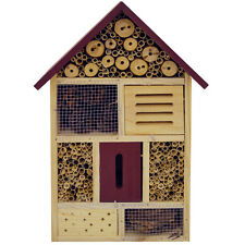 BUG - 4 Storey Solid Wood Insect / Butterfly / Bee Hotel - Brown / Red LS1531