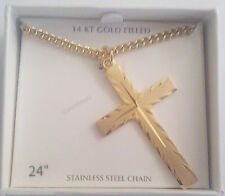 """NEW- Men's 14K Gold Cross Cut Pendant With 24"""" Necklace Chain-FREE SHIPPING"""