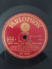 """RARE 78RPM 10"""" PARLOPHON ROMAN NEW ORLEANS JAZZ BAND BABY WON'T YOU PLEASE COME"""