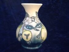 "Moorcroft Green Pear White Flower 6 1/2"" tall Vase. 1st Quality"