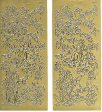 FAIRIES, BUTTERFLIES & DRAGONFLIES GOLD 541 PEEL OFF STICKERS - 2 SHEETS