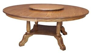 """Large Round Dining Table Traditional Country Solid Oak Wood 60"""",72"""" Lazy Susan"""