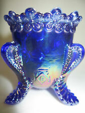 Vintage Cobalt blue Carnival glass toothpick holder iridescent daisy flower boyd