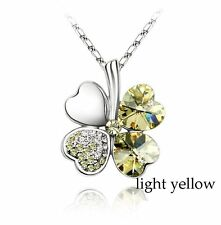 Clover Necklace Four Leaf Light Pendant Yellow Crystal Chain
