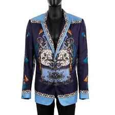 Dolce & Gabbana Taormina Emblem Print Jacket Blazer Made of Silk Blue 54 XL