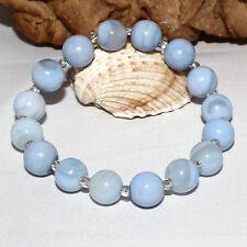 Achat Armband 10 mm hell blau 100ct – Lagenstein dehnbar Buddha Armband 19,5 cm