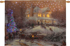 Victorian Christmas II Fiber Optic Tapestry Wall Hanging w/Remote Thomas Kinkade
