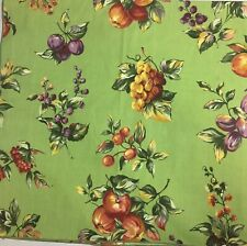 """Vintage Tablecloth 52"""" Sq Fabric FRUIT Pattern GEORGE E BARDWIL & Sons"""