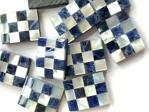 V030 10 Vint Inlay Mosaic Stone Tiles Rectangle Cabs - Checkered MOP & Sodalite
