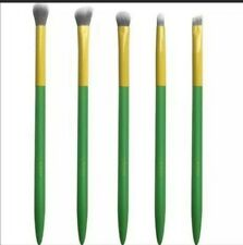 Lavish 5-Piece Essential Eye Collection Brush Set, New in Pouch, Green and Yello