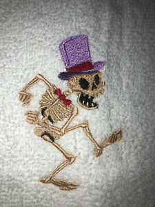 Embroidered Kitchen Bar Hand Towel HALLOWEEN Dancing Skeleton  HS1485