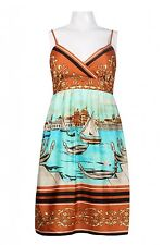 NWT 12 $169 MUSE Printed Sailboat Conversation Surplice Bra Dress Celebrity Fav