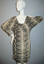 RINASCIMENTO Size M Gray~Beige Snake Print Dress (Made in Italy)