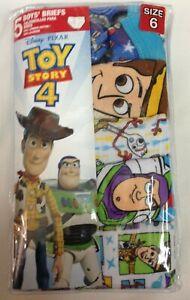 Toy Story 4 Disney Pixar Kids 5 Cotton Briefs Underwear Boys Size 6 White Prints