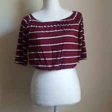 Hollister Women's Size Small Burgandy & White Stripe Crop Top 3/4 Sleeves Blouse