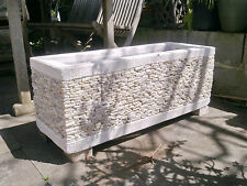 Balinese White Marble Pot Planter Concrete-30cm width x 80cm length x 30cm depth
