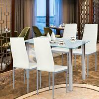 Modern Dinning Kitchen Chairs Set Of 4 White Leather Elegant Home Furniture