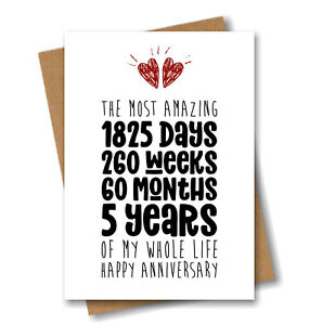 5th Anniversary Card - The Most Amazing Five Years of My Life - Him Her Wedding